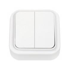 Выключатель 2-х клавишный белый открытой установки (А5 6-134)