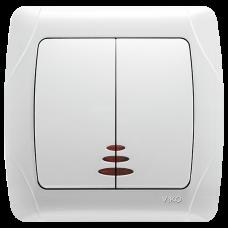 Выключатель 2-х клавишный с подсветкой скрытой установки VIKO